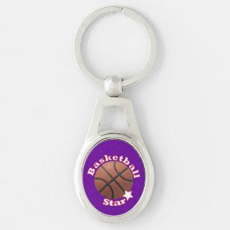 Estrella del baloncesto llavero plateado ovalado