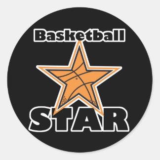 estrella del baloncesto pegatina redonda