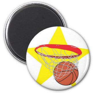 ¡Estrella del baloncesto!  Personalizable: Imán Redondo 5 Cm