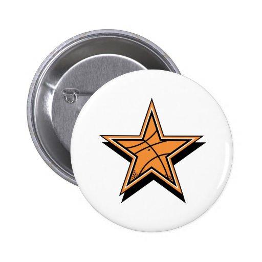 Estrella del baloncesto pin redondo 5 cm