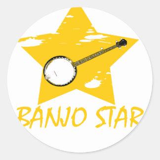 Estrella del banjo pegatinas redondas