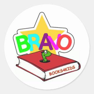 Estrella del bravo para los ratones de biblioteca pegatina redonda