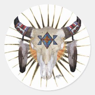 Estrella del búfalo pegatina redonda