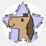 Estrella del caballo etiquetas redondas