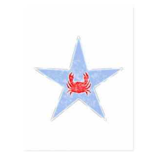 Estrella del cangrejo azul tarjetas postales