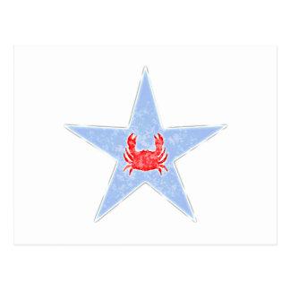 Estrella del cangrejo azul postal