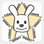 Estrella del conejo calcomanía cuadradase