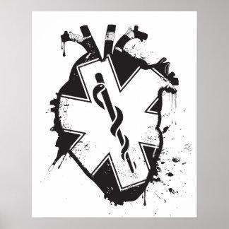 estrella del corazón anatómico de la vida póster