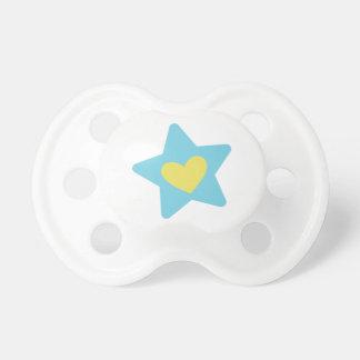 Estrella del corazón - azul y amarillo chupete de bebe
