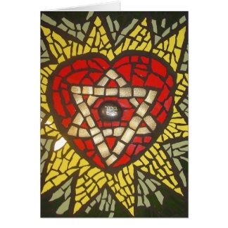 Estrella del corazón de Mosiac que brilla intensam Tarjeta De Felicitación