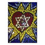 Estrella del corazón del mosaico que brilla intens felicitación