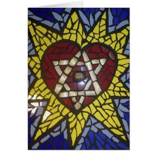 Estrella del corazón del mosaico que brilla intens tarjeta de felicitación