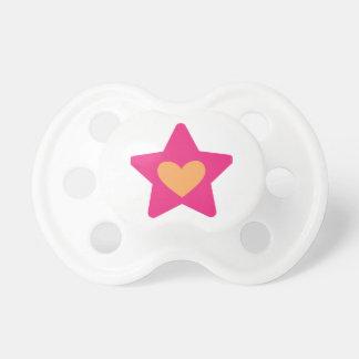 Estrella del corazón - rosa y naranja chupetes para bebés