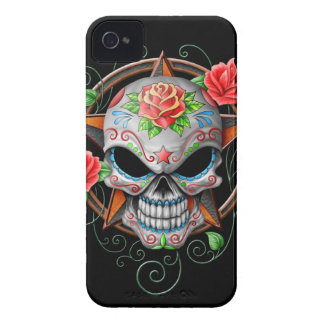 Estrella del cráneo del azúcar, negra iPhone 4 cárcasas