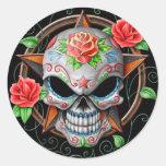 Estrella del cráneo del azúcar, negra pegatinas redondas
