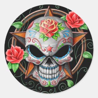 Estrella del cráneo del azúcar negra pegatinas redondas