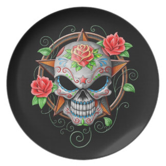 Estrella del cráneo del azúcar negra platos