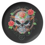 Estrella del cráneo del azúcar, negra platos