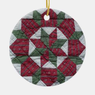 Estrella del día de fiesta adorno navideño redondo de cerámica