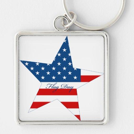 Estrella del día de la bandera llavero cuadrado plateado