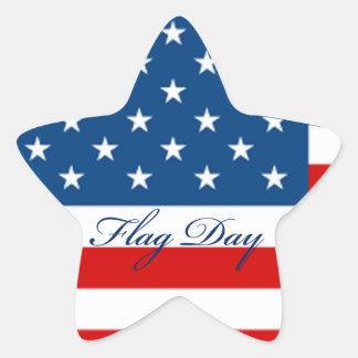 Estrella del día de la bandera pegatina en forma de estrella