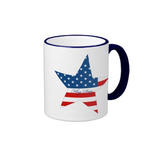 Estrella del día de la bandera tazas de café