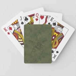 Estrella del dragón - imagen de cuero verde cartas de póquer