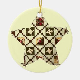 Estrella del edredón adorno navideño redondo de cerámica