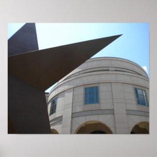 Estrella del estado de Tejas y museo del estado de Póster