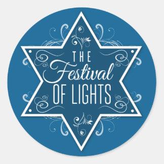 Estrella del festival de David de las luces Jánuca Pegatina Redonda