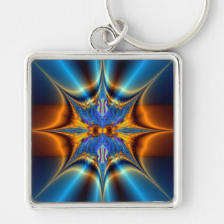 Estrella del fractal llavero cuadrado plateado