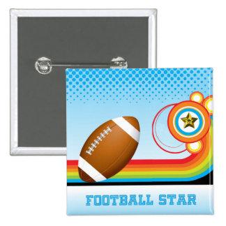 Estrella del fútbol y de FÚTBOL de la raya del Pin Cuadrada 5 Cm