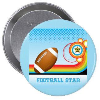 Estrella del fútbol y de FÚTBOL de la raya del Pin Redondo 10 Cm