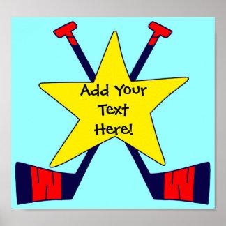 ¡Estrella del hockey - añada su propio texto Poster