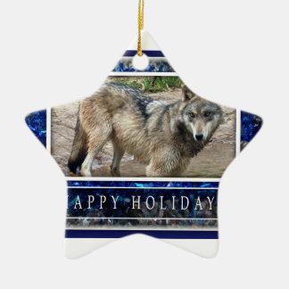 Estrella del lobo gris o del ornamento del navidad adorno navideño de cerámica en forma de estrella
