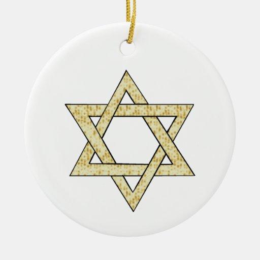 Estrella del Matzoh de David Adorno Navideño Redondo De Cerámica