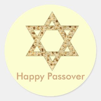 Estrella del Matzoh del Passover de David Pegatina Redonda