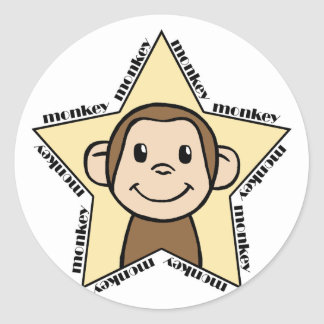 Estrella del mono pegatina redonda