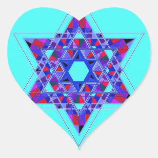 Estrella del mosaico de David Pegatina En Forma De Corazón
