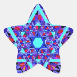 Estrella del mosaico de David Pegatina En Forma De Estrella