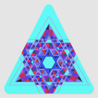 Estrella del mosaico de David Pegatina Triangular