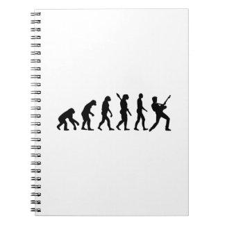 Estrella del músico del rock de la evolución cuaderno