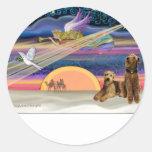 Estrella del navidad - Airedales (dos) Etiqueta Redonda