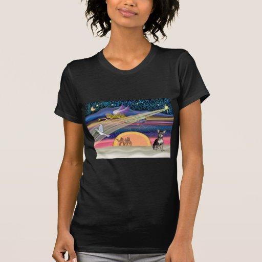 Estrella del navidad - chihuahua (azul-crema) camisetas