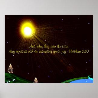 Estrella del navidad con el poster de la escritura