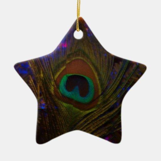 Estrella del navidad de la pluma del pavo real adorno de cerámica en forma de estrella