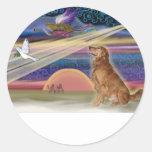 Estrella del navidad - golden retriever #3 pegatina redonda