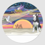 Estrella del navidad - husky siberiano 1 pegatina redonda