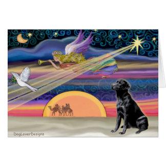Estrella del navidad - labrador retriever (negro) tarjeta de felicitación