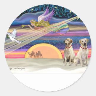 Estrella del navidad - Labradors (amarillo dos) Pegatina Redonda